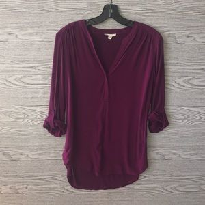 Pleione | Deep Pink Roll Sleeve Blouse (M)